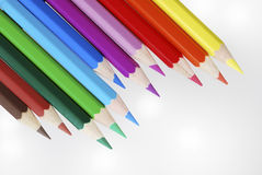 Wooden colored crayons Stock Images