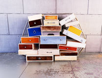 Wooden colored drawers Stock Photos