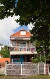 Wooden colored house typical for Caribbean Islands, French West Indies. royalty free stock image