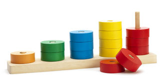 Wooden colored logical toy Stock Photos