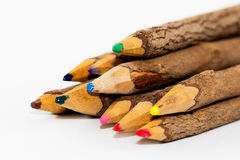 Wooden Colored Pencils Stock Photo