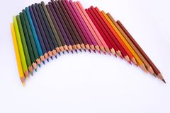 Wooden colored pencils royalty free stock photo