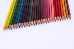 Wooden colored pencils stock photography