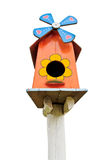 Wooden colorful bird house Royalty Free Stock Photos
