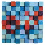 Blue and red mosaic. Wooden colorful blue and red mosaic Stock Photography