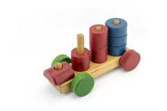 Wooden colorful bricks isolated on white background. Developmental Toys stock photography