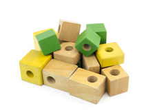 Wooden colorful bricks isolated on white background Stock Photography