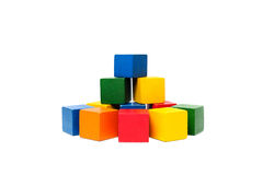 Wooden colorful building blocks. Royalty Free Stock Photography