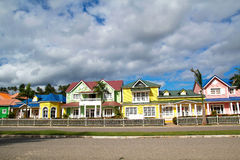 Wooden colorful houses in Caribbean Stock Photo
