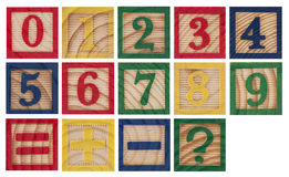Wooden colorful numbers royalty free stock photos