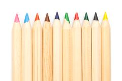 Wooden colorful ordinary pencils isolated on a white background, Image stock image