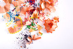 Wooden colorful pencil sawdust and shavings background Royalty Free Stock Photo