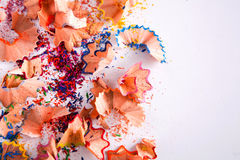 Wooden colorful pencil sawdust and shavings background Stock Image