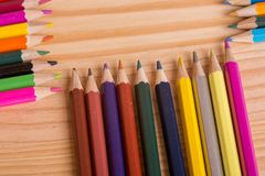 Colorful pencils. Wooden colorful pencils, on wooden table royalty free stock photo