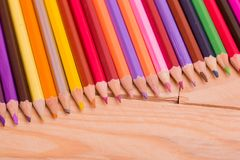 Colorful pencils. Wooden colorful pencils, on wooden table stock photos