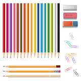 Wooden colorful sharp pencils set with erasers and push clips, i Stock Photography