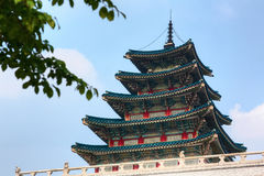 Wooden colorful tower of Korean palace. Seoul city Royalty Free Stock Images