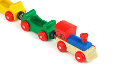 Wooden colorful toy train Royalty Free Stock Images