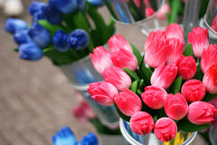 Wooden colorful tulips in souvenir shop Royalty Free Stock Image