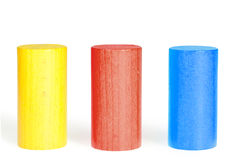 Wooden colour cylinders Royalty Free Stock Images