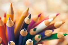 Wooden Colour Pencils. In close-up Stock Photography