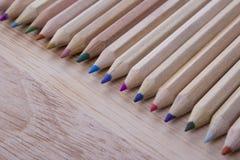 Wooden colour pencils Stock Photo