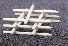 Wooden, coloured pencil crayons Stock Image