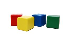 Wooden colourful childrens blocks isolated white Royalty Free Stock Photography