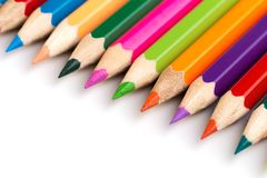 Wooden colorful pencils isolated on a white background, Image stock photography