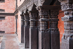 Wooden Column at Durbar Square Stock Image