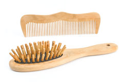 Wooden comb and brush Royalty Free Stock Photo