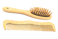 Wooden comb and brush Stock Image