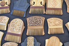 Wooden combs for hair Stock Images