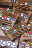 Wooden combs with inlaid designs Stock Image