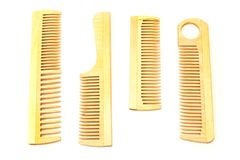Wooden combs isolated on white background Stock Images