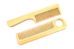 Wooden combs isolated on white background Stock Image
