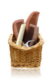 Wooden combs in the Rattan basket Royalty Free Stock Images