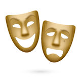 Wooden comedy and tragedy theatrical masks. Illustration Stock Photos