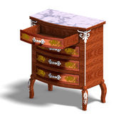 Wooden commode with drawers of Louis XV. Royalty Free Stock Photo
