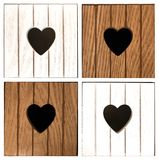 Wooden compartments with heart design. Close-up of decorative furniture Stock Photography