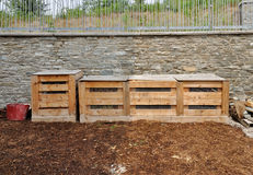 Wooden compost bins Royalty Free Stock Image