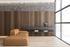 Wooden and concrete living room with sofa stock illustration