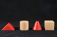 Wooden Cones And Cubes Stock Photo