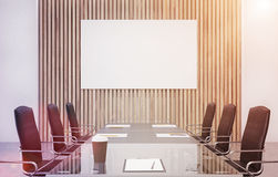 Wooden conference room, poster, toned Royalty Free Stock Photography