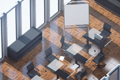 Wooden conference room top. Top view of wooden conference room with empty whiteboard stand, workplace and sunlight Mock up, 3D Rendering. Filtered image Royalty Free Stock Image