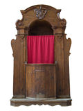 Wooden confessional. Royalty Free Stock Photo