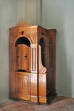 Wooden Confessional. Confessional cherry wood in a small country church thirty royalty free stock images
