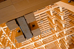 Wooden construction. Wooden interior details in the brand new building Stock Photography