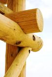 Wooden construction. Detail of the wooden building Stock Images