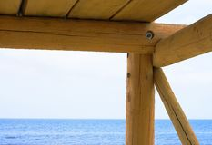 Wooden construction. Detail of a wooden building Royalty Free Stock Images